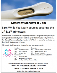 Maternity Mondays flyer in English
